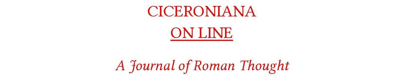 CICERONIANA ON LINE - A Journal of Roman Thought